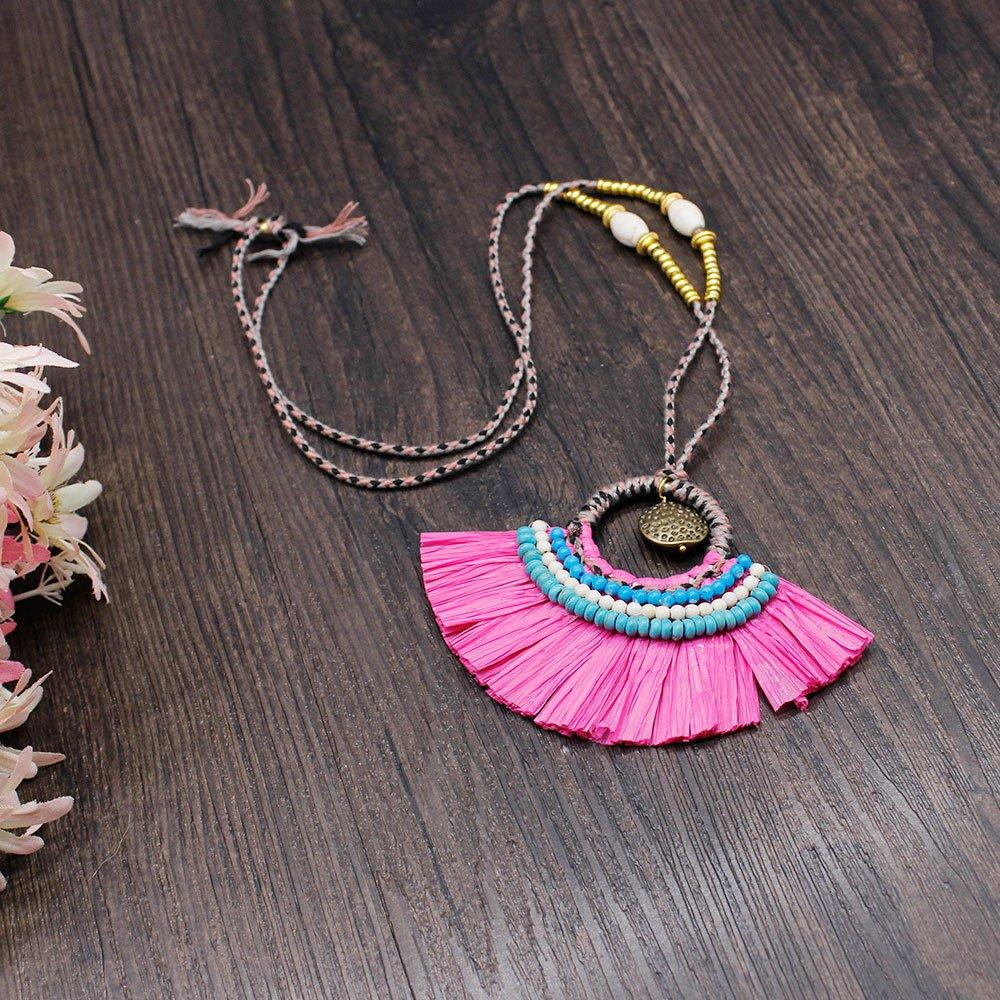 Raffia Grass Handmade Necklace with Metal Parts and Beads