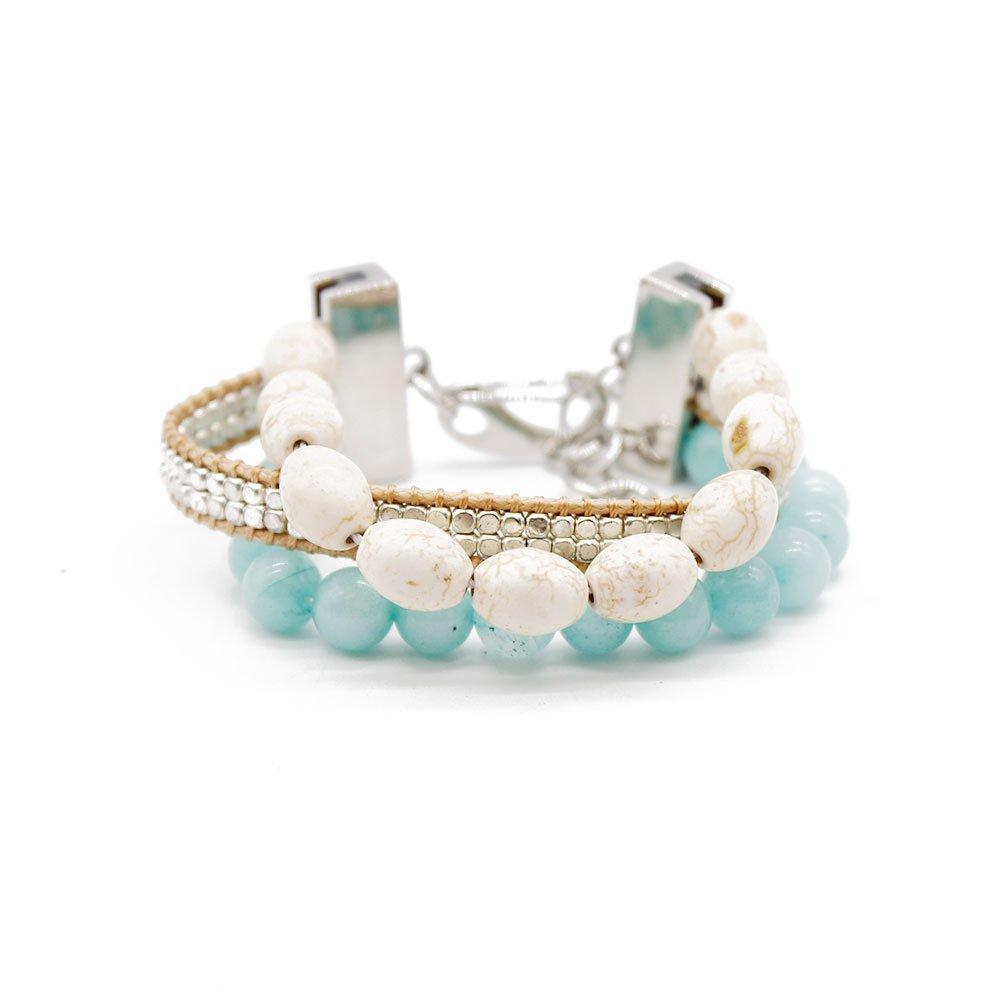 Boho 3 Strands Handmade Bracelet with Silver Smooth Copper Beads