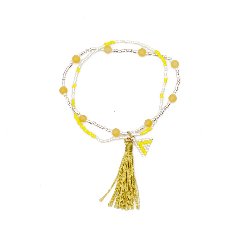 TTT Jewelry Miyuki and Yellow Jade Beads Simple Handmade Bracelet with Tassel Miyuki Bracelet image28