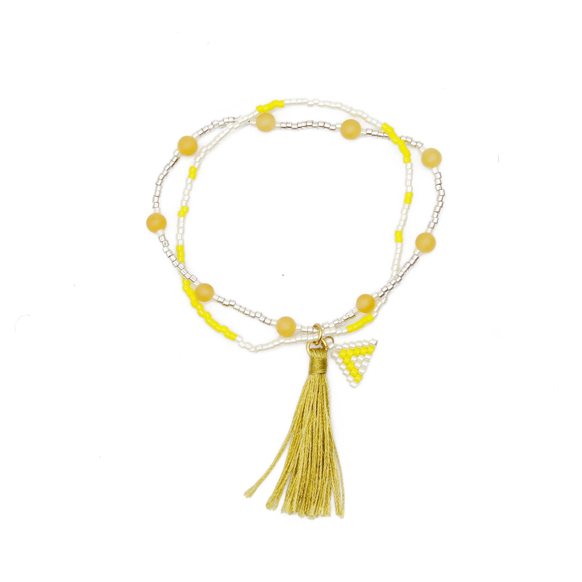 Miyuki and Yellow Jade Beads Simple Handmade Bracelet with Tassel