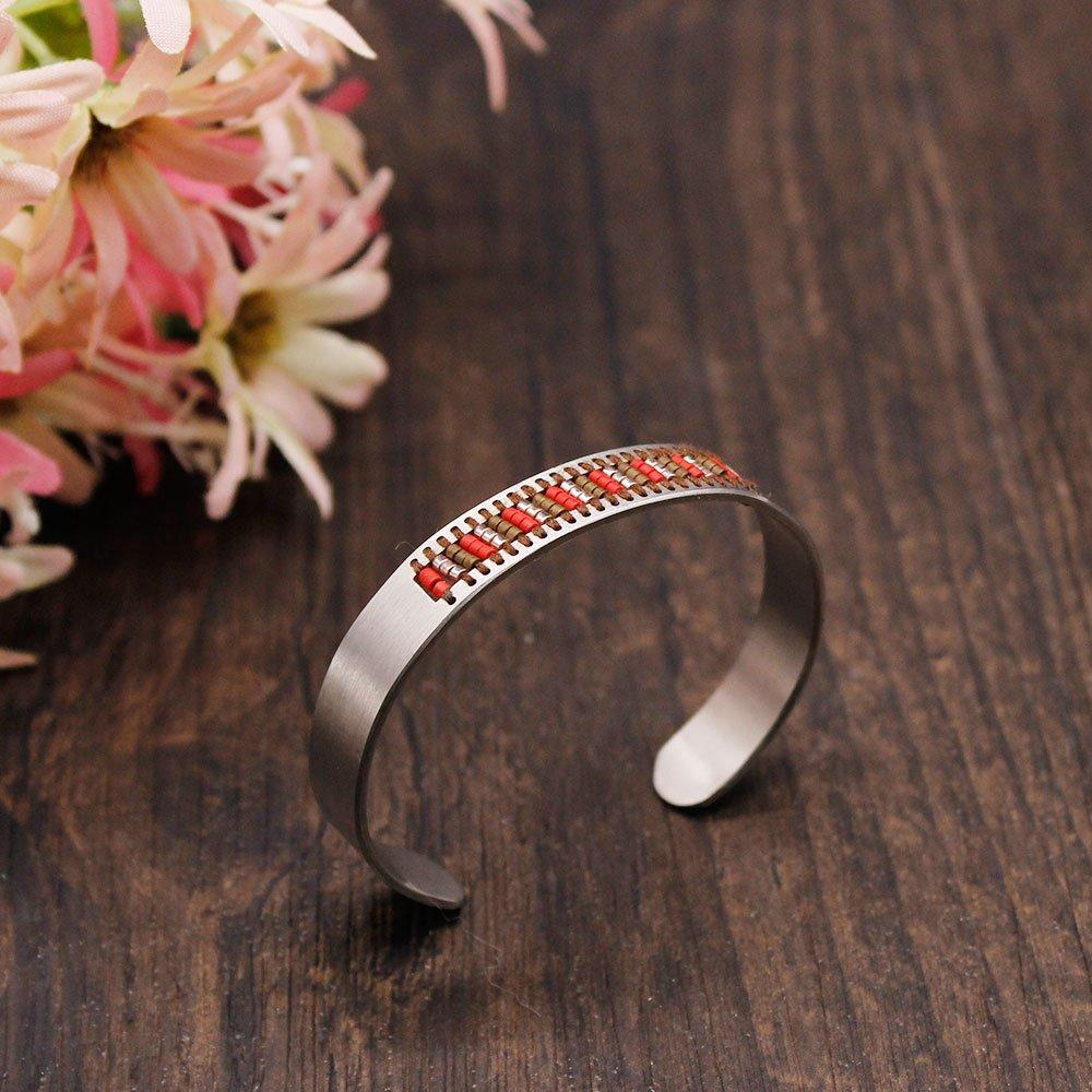 Cuff Bracelet Stainless Steel Handmade Bangle with Miyuki Hollowed-out