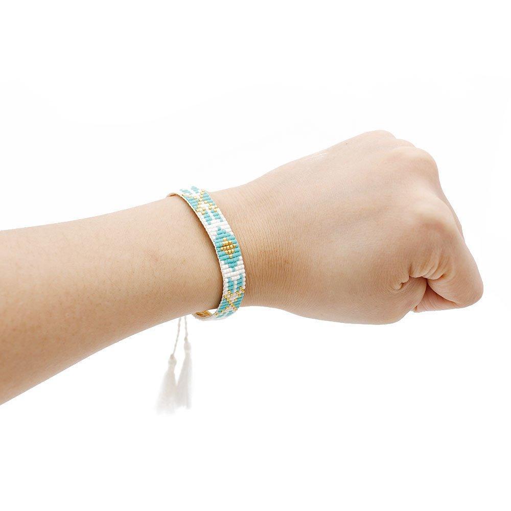Miyuki Seed Beads Handmade Bracelet with Tassel Knot
