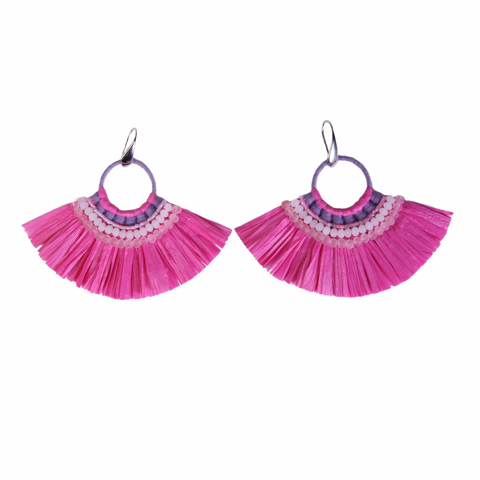Fan-shaped Pink Color Raffia Earrings with Bulk Raffia Grass