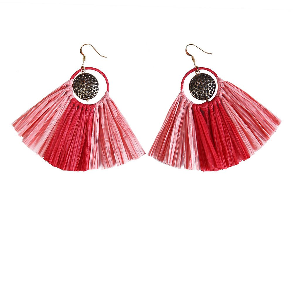 Hanmdae earrings Red Style Raffia Statement Earrings with Metal Parts