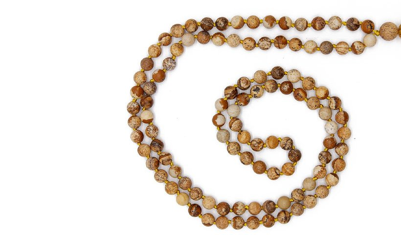 6 mm Natural Picture Stone Beads Mala Necklace