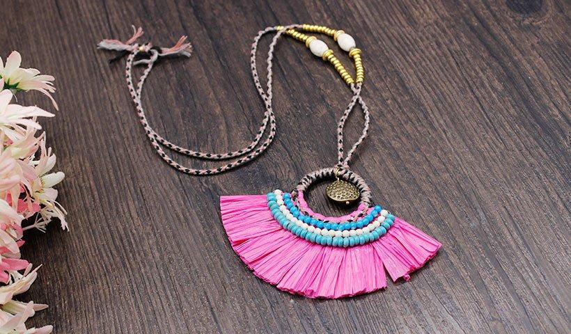 handmade raffia necklace TTT Jewelry Brand raffia necklace