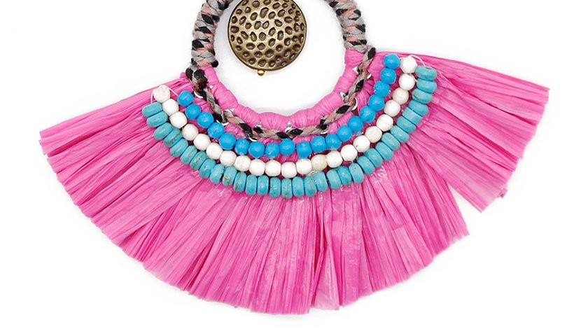 Raffia Grass Necklace with Metal Parts and Beads