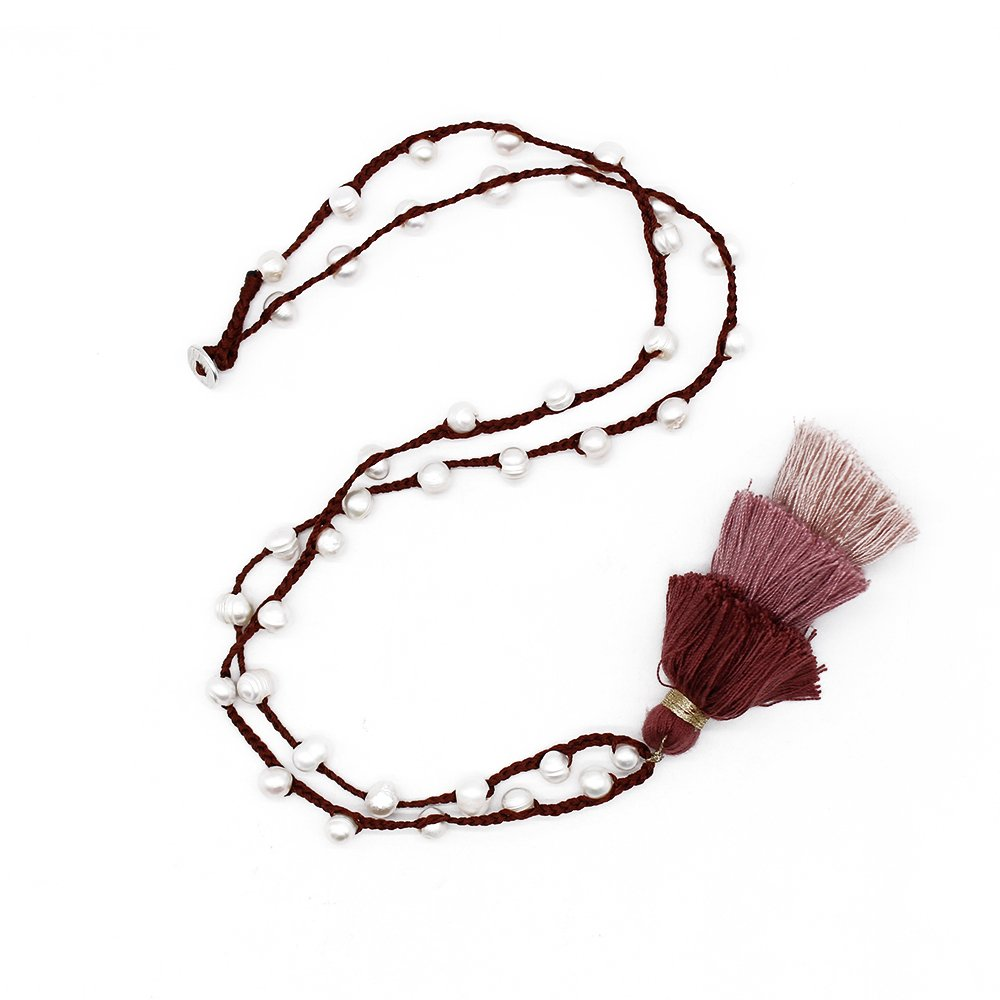 TTT Jewelry Natural Pearl Handmade Necklace with Cotton Tassel Pearl Necklace image15