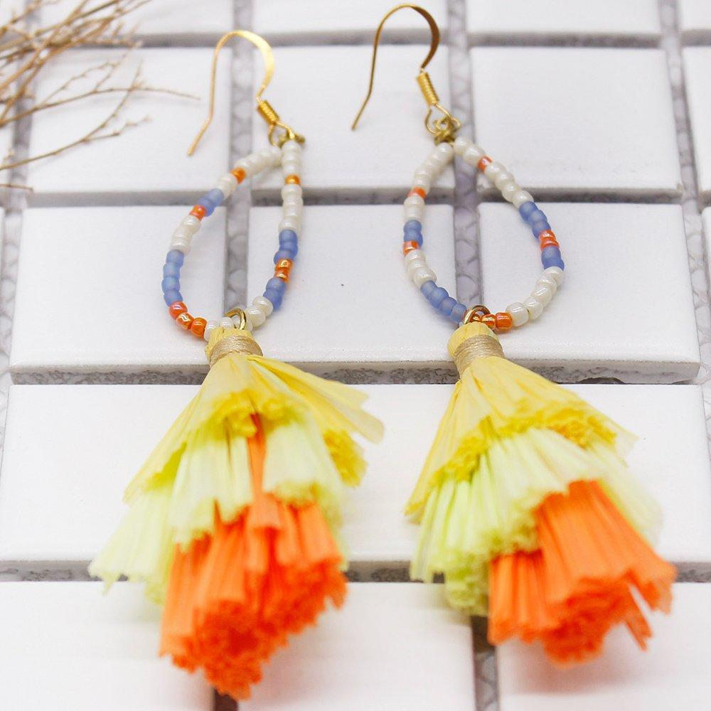 Wholesale Women Jewelry Lovely-Dress Style Colorful Raffia Earrings
