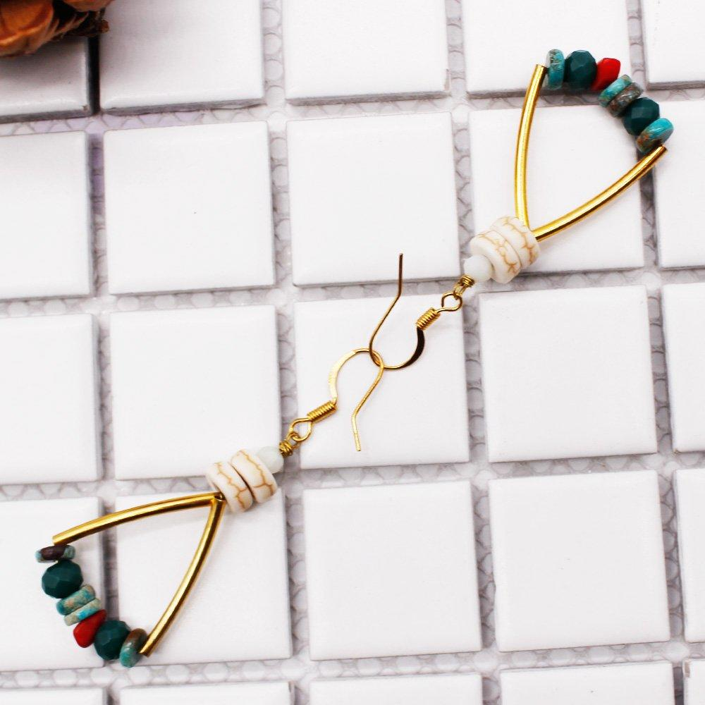 Crystal & Turquoise Dangle Hoop Earrings