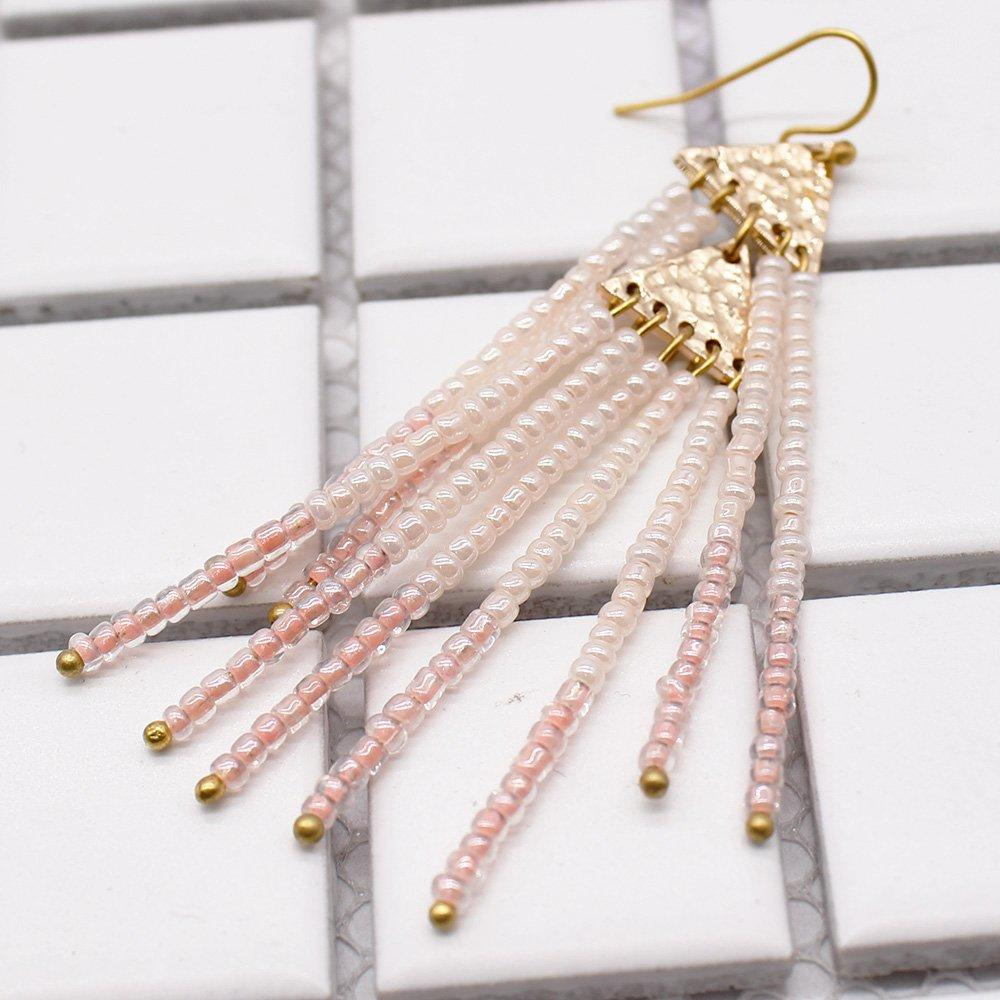 Chinese Seed Bead Tassel Earrings