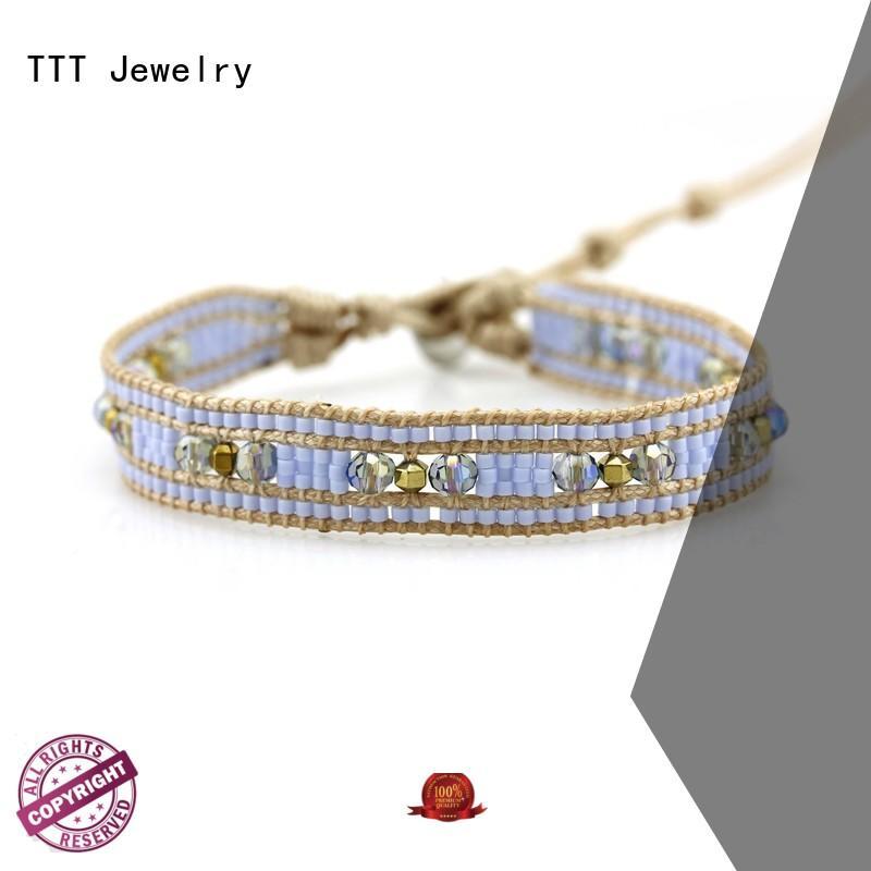 handmade beads leather wrap bracelet bohemian crystal TTT Jewelry