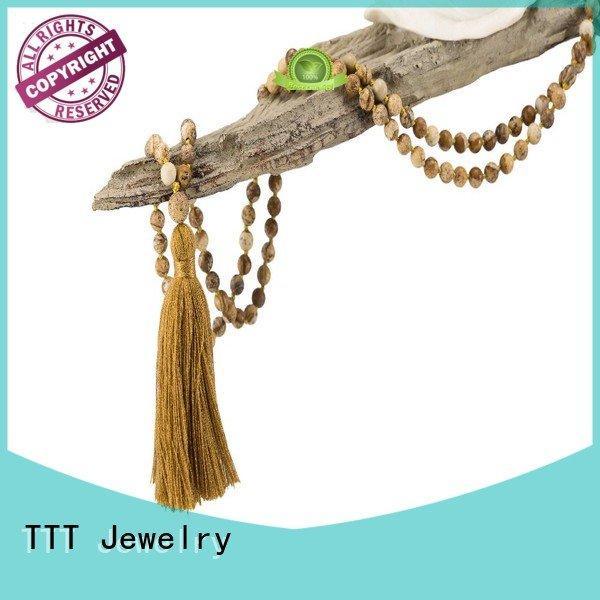 TTT Jewelry Brand tassel mala bridal necklace stone velvet
