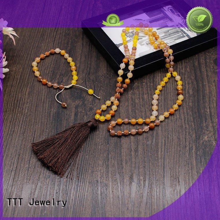 TTT Jewelry stone 6mm designer necklaces velvet tassel