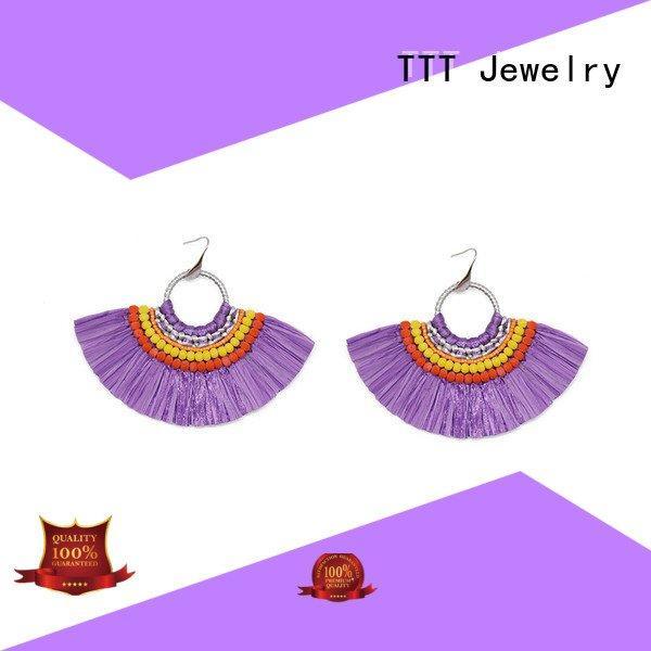 unique earrings handcrafted raffia earrings grass TTT Jewelry