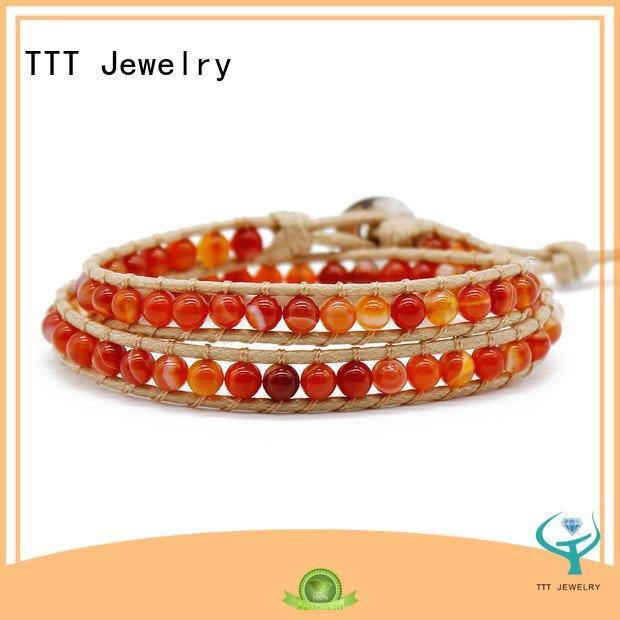 crystal beads steel TTT Jewelry women's leather wrap bracelets