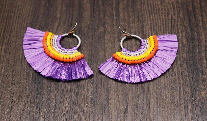 crazy price raffia earrings alloy bulk purchase for party-2