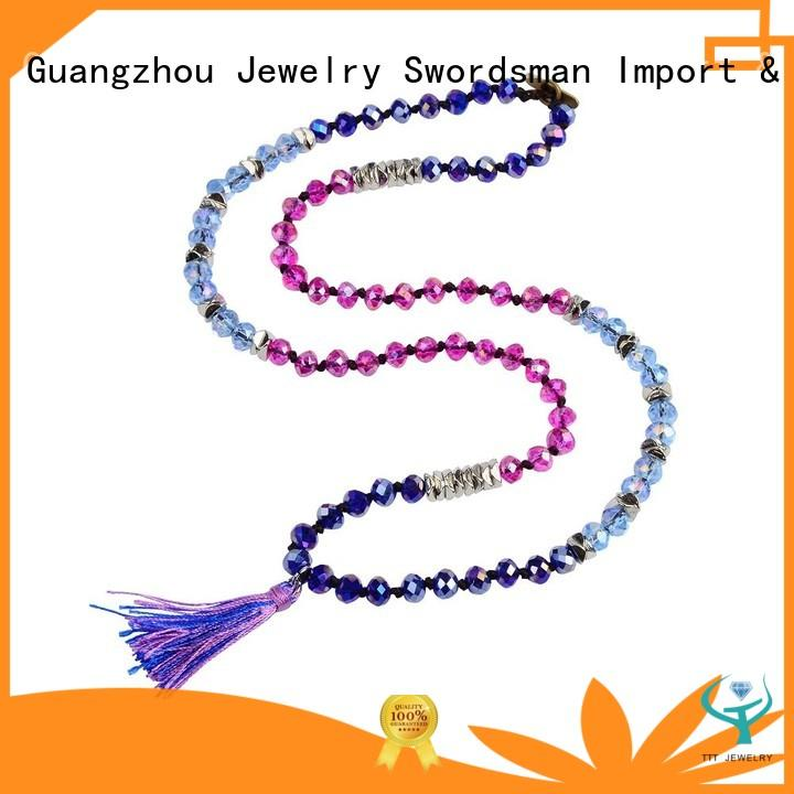 handknot blue crystal necklace bead for trader TTT Jewelry