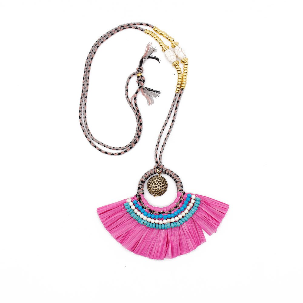 TTT Jewelry Raffia Grass Handmade Necklace with Metal Parts and Beads Raffia Necklace image19