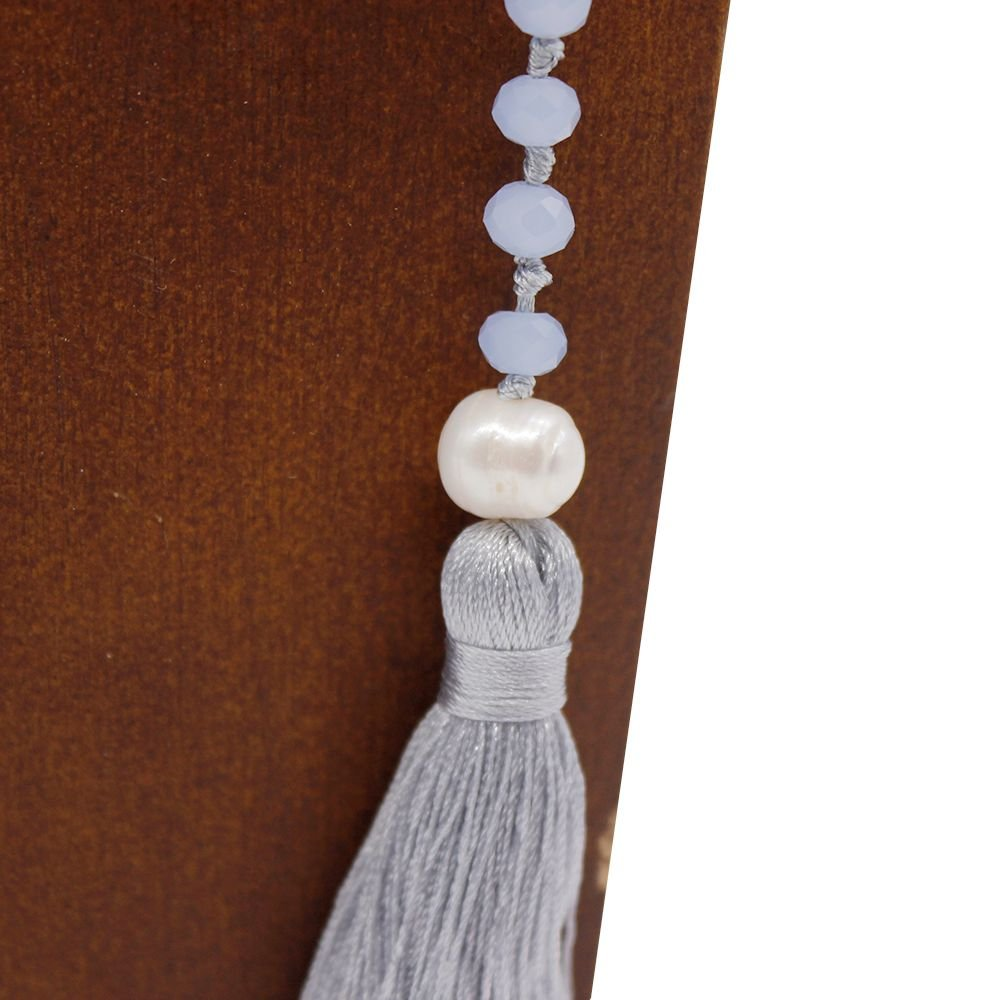 TTT Jewelry Blue Long Layer Wrap Handmade Necklace with Tassel Wrap Necklace image11