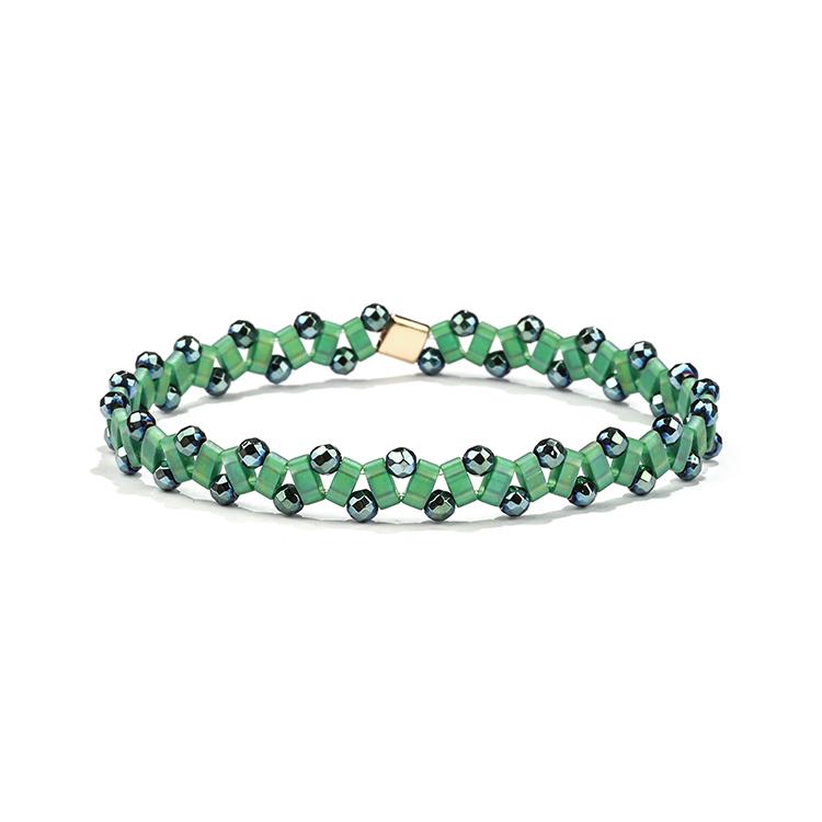 Handmade jewelry fresh spring style green translucent hematite tila bracelet