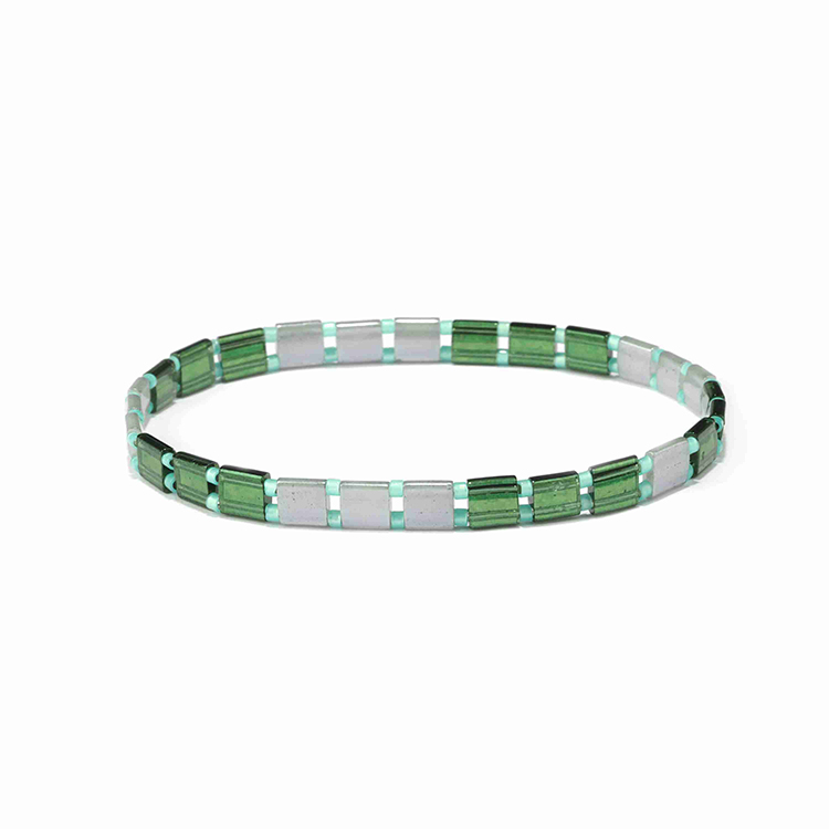 Friendship fresh green and gary translucent tila mixed grass miyuki bead handmade tila bracelet women jewelry