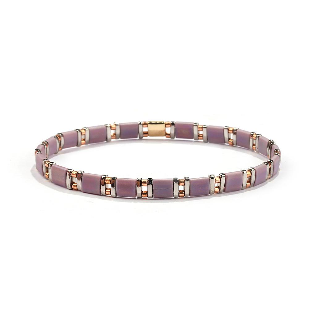 Stylish Popular Lady Jewelry Handmade Miyuki Rose Color Frosted Tila Bead Bracelet