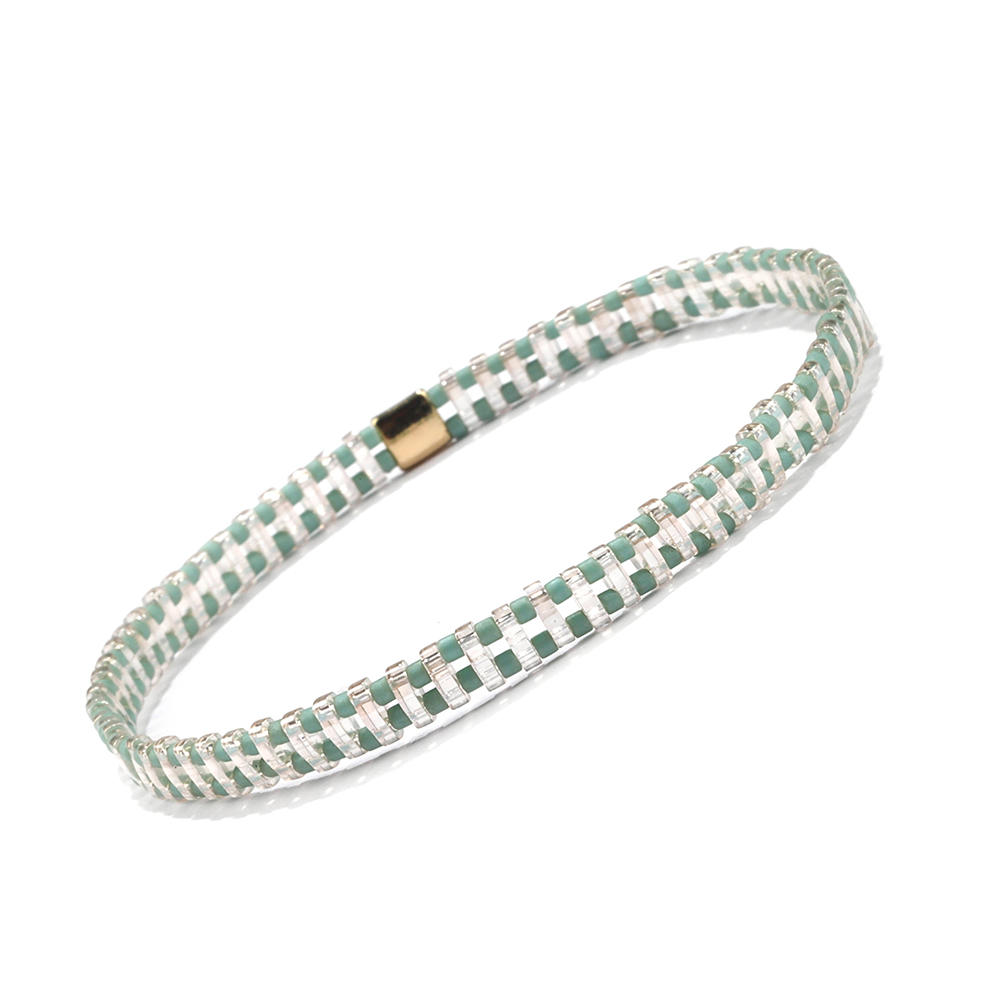 Beautiful popular Hanamade Wholesale Translucent Green Color Miyuki Tila Bead Bracelet