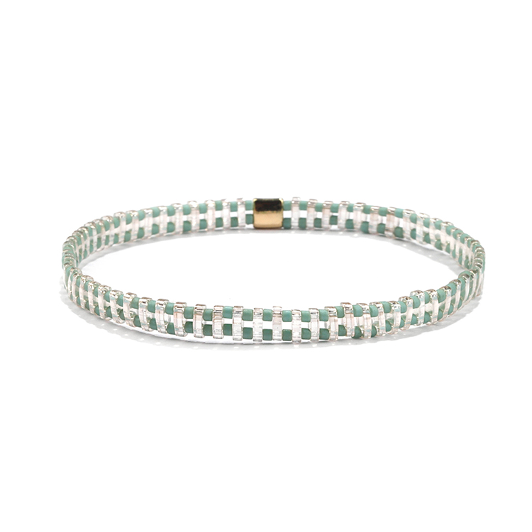 Fresh beautiful transulucent tila green plated miyuki bead wholesale handmade tila bracelet
