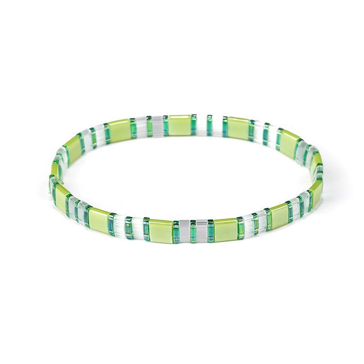 Fashion Fresh Handmade Ladies Jewelry Green Color Miyuki Tila Bead Bracelet