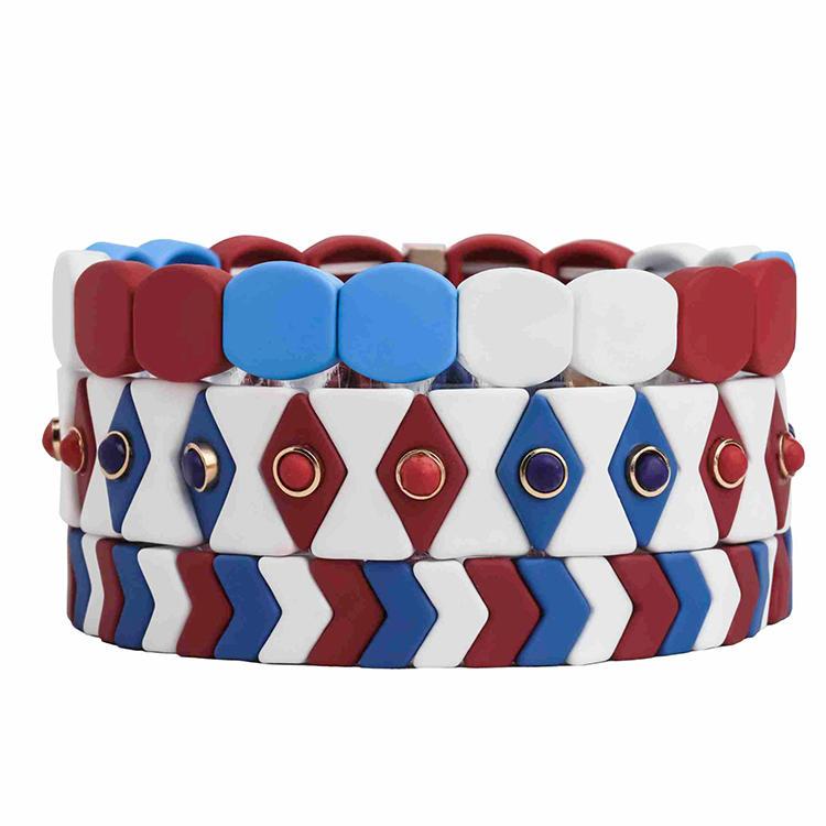 Stylish Fresh 3Pcs Handmade Hematite Red Blue and White color  Rainbow Enamel Bracelet