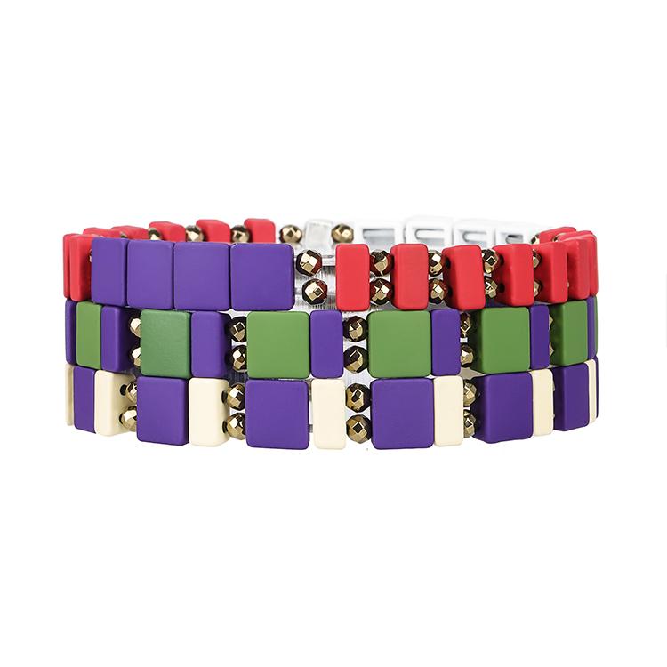 Handmade Purple green and red color tile hematite enamel bracelet women jewelry