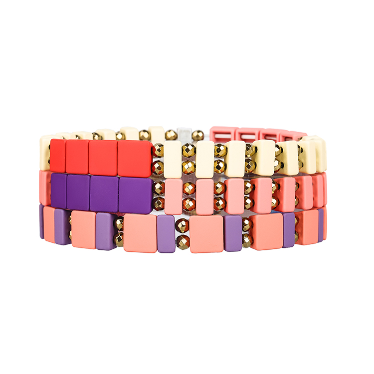 Violet Light purple and red color enamel hematite tile bracelet women jewelry