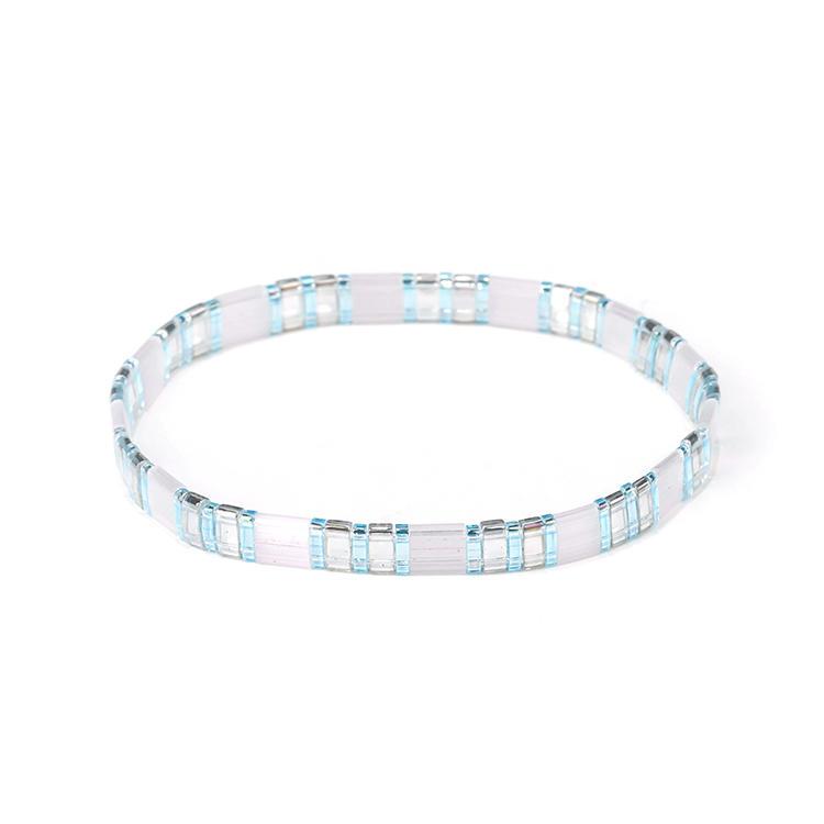 Handmade Women Jewelry Translucent Blue and White Color Miyuki Tila Bead Bracelet