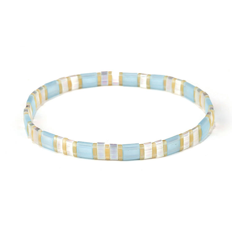 TTT Jewelry Fresh Friendship Handmade Translucent Beige and Blue Color Miyuki Tila Bead Bracelet