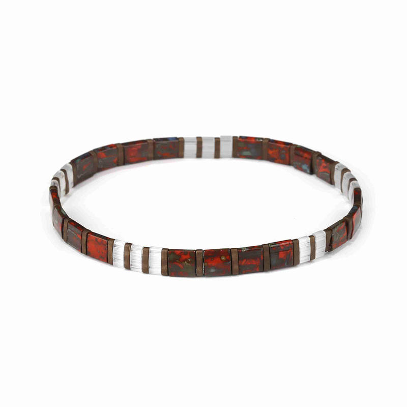 Autumn Style Popular Handmade Women Jewelry Dazzle Brown and White Tila Bracelet