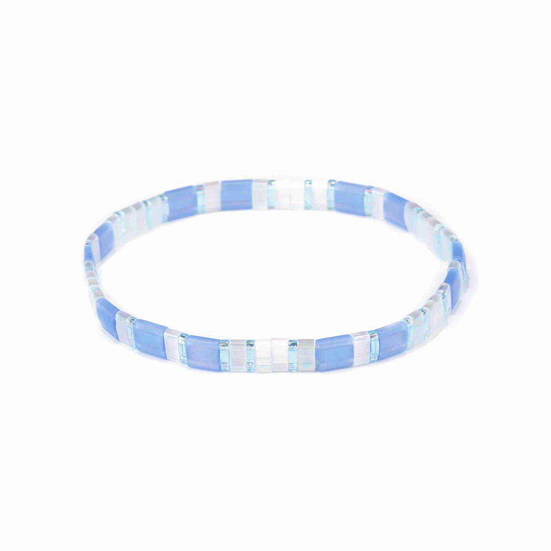 Women Jewelry personlized Handmdade Wholesale Translucent and White Miyuki Tila Bead Bracelet