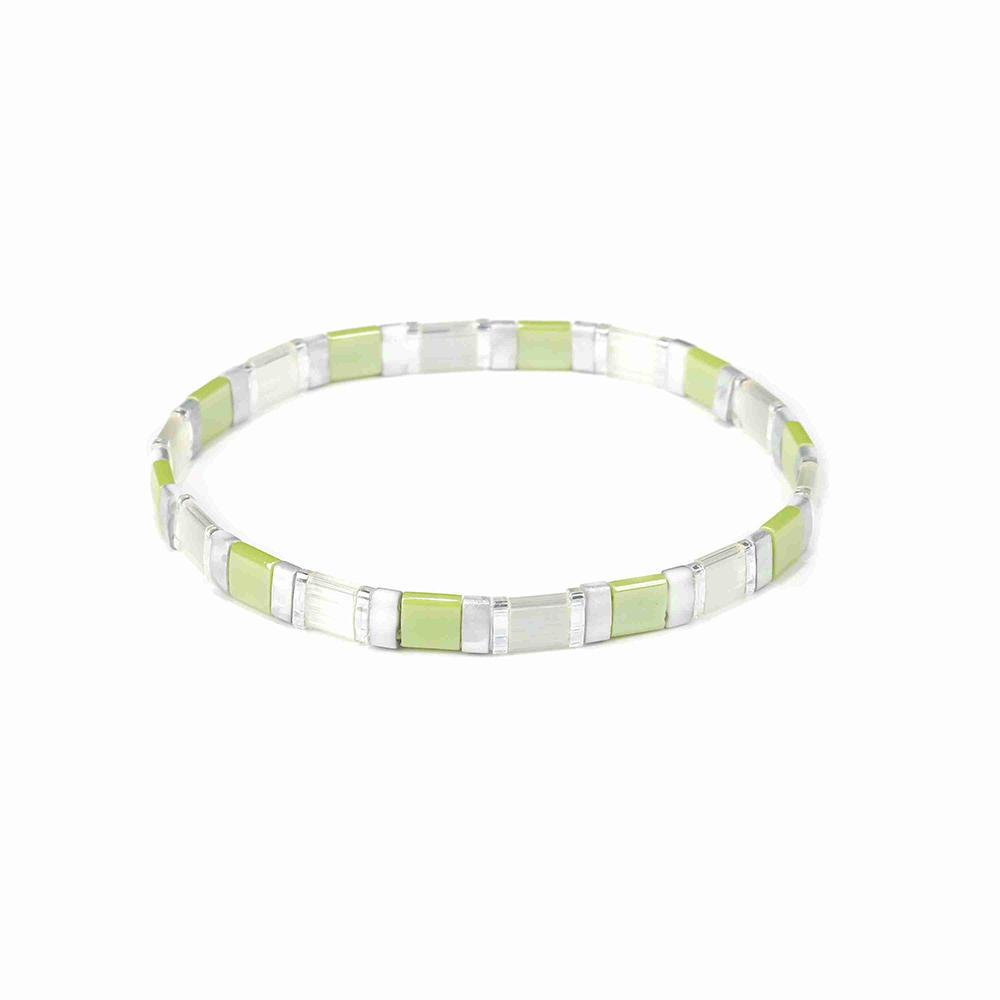 Friendship Fresh Wholesale Translucent and Grass Green Color Handmade Tila Bead Bracelet
