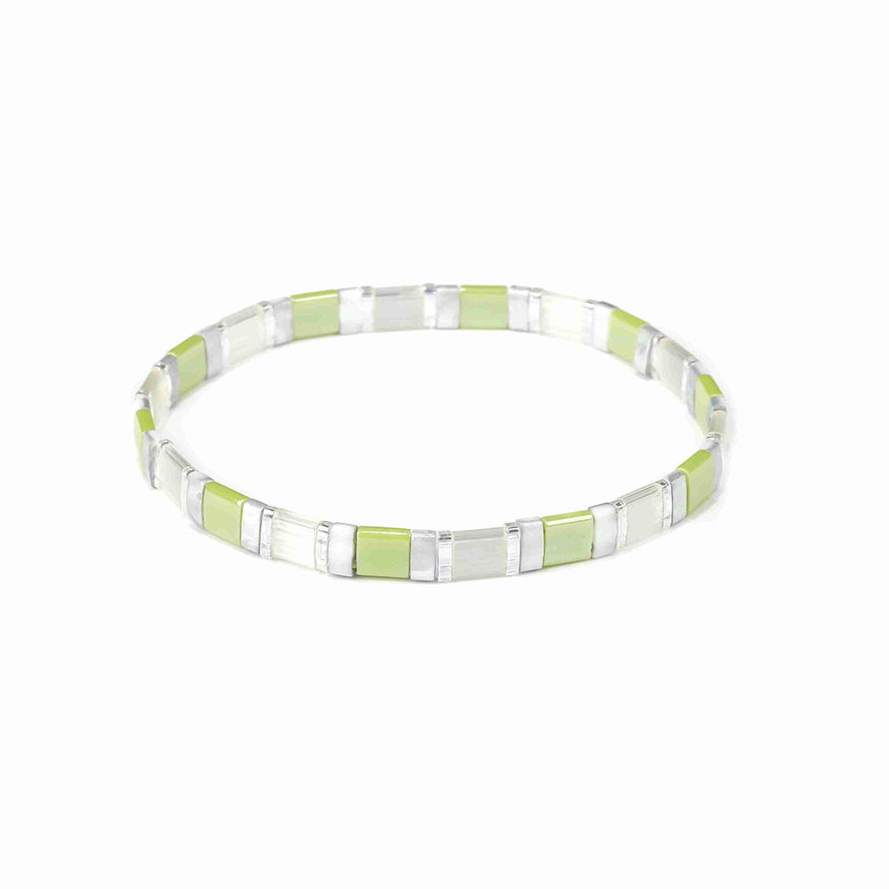 Friendship Fresh Wholesale Translucent and Grass Green Color Handmade Tila Bead Bracelet