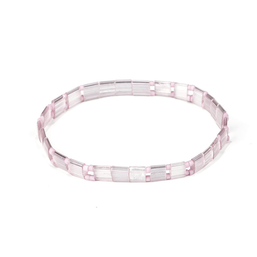Lovely Style Handmade Translucent and Pink Miyuki Tila Bead Bracelet Ladies Jewelry
