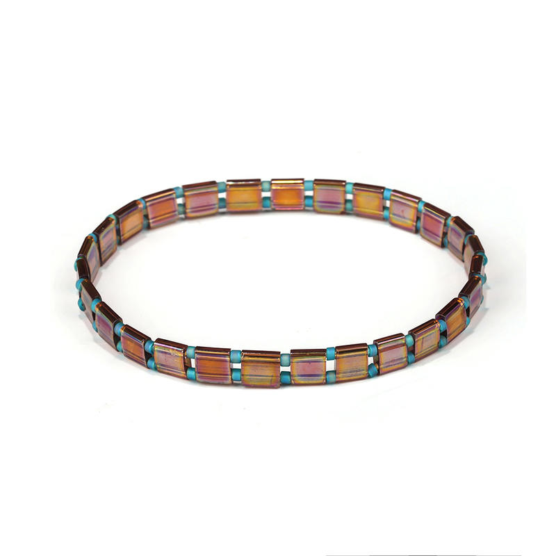 OEM ODM Manufacturer Handmade Blue Bead Translucent Brown Color Tila Bracelet
