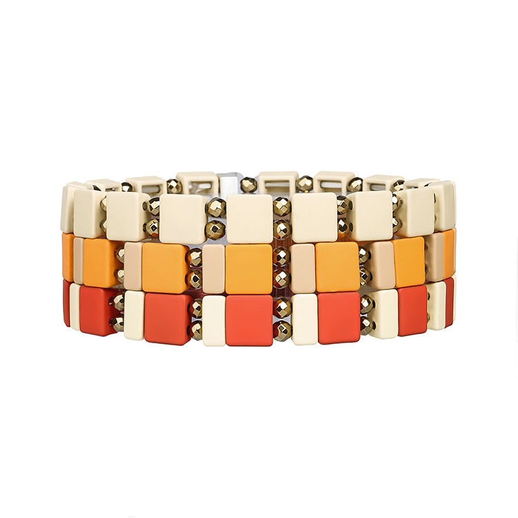 hematite square strip beige khaki red and yellow color handmade tile enamle bracelet women jewelry