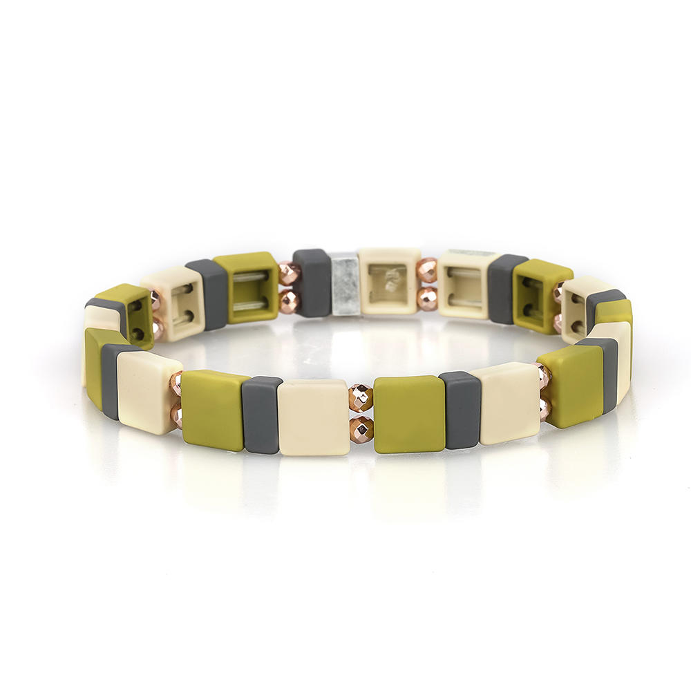 Personal Customized 3Pcs Wholesale Handmade Hematite Camouflage Style Enamel Bracelet Women Jewelry