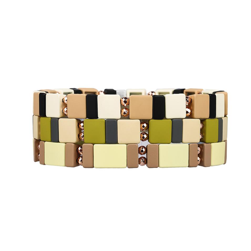 Personal Customized 3Pcs Wholesale Handmade Hematite Camouflage Style Enamel Bracelet Women Jewelry