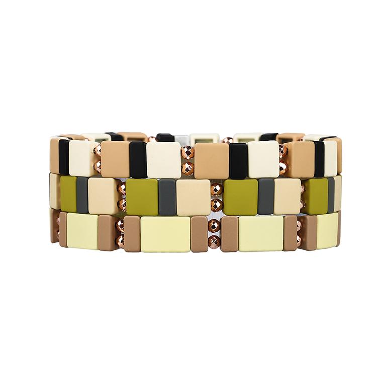 Camouflage beige grass khaki and gray black color 3Pcs small square strip enamel hematite tile bracelet women jewelry