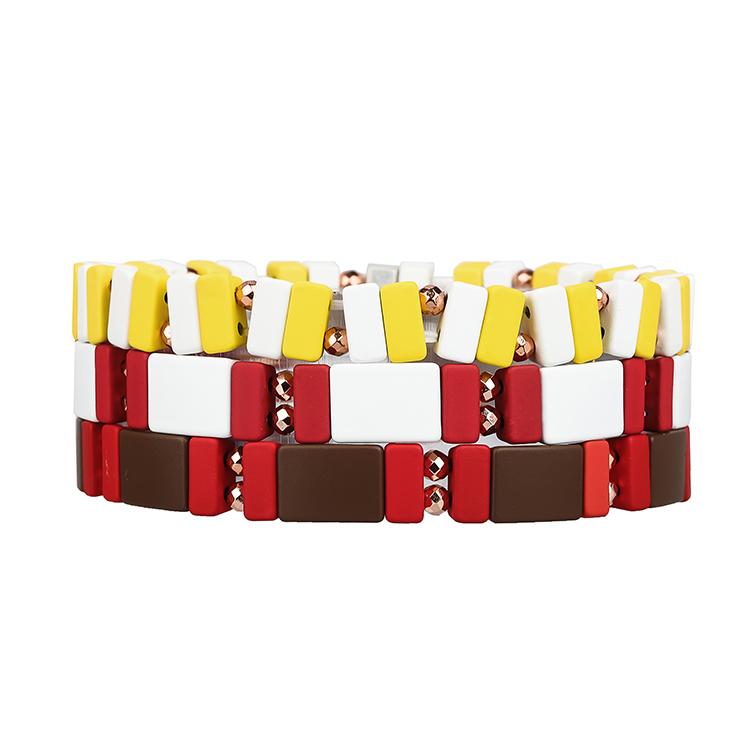 Brown red yellow and white color 3pcs strip enamel hematite handmade women jewelry bracelet