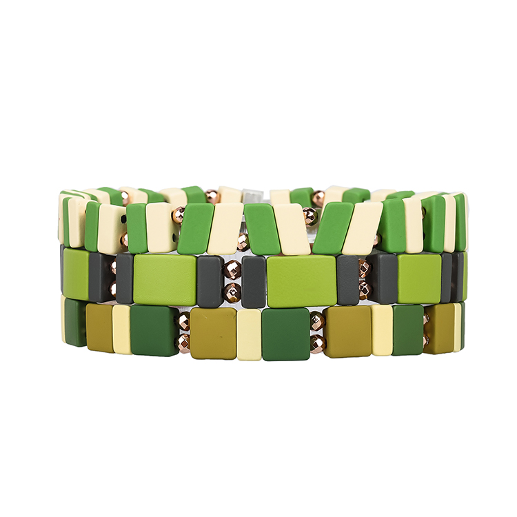 Green fresh friendship 3Pcs Tile hematite enamel bracelet