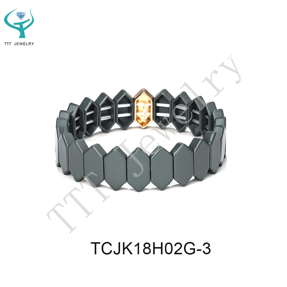 Simple Fashion Design Alloty Flat Face Honeycomb Shape Tile Enamel Bracelet Women Jewelry