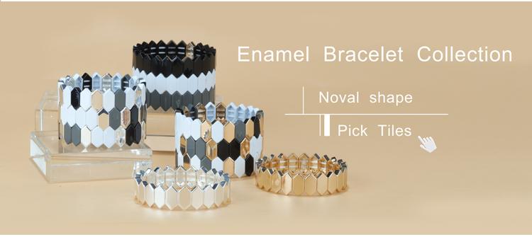 Honeycomb Shape Fashion Tile Enamel bracelet