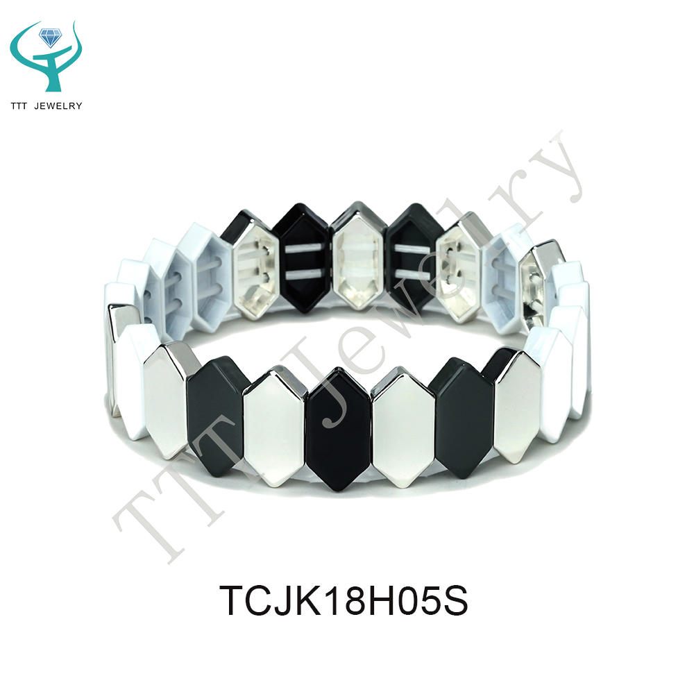 Simple Style Color Mixed Newest Design Honeycomb Shape Flat Face Metal Alloy Tile Enamel Bracelet Jewelry